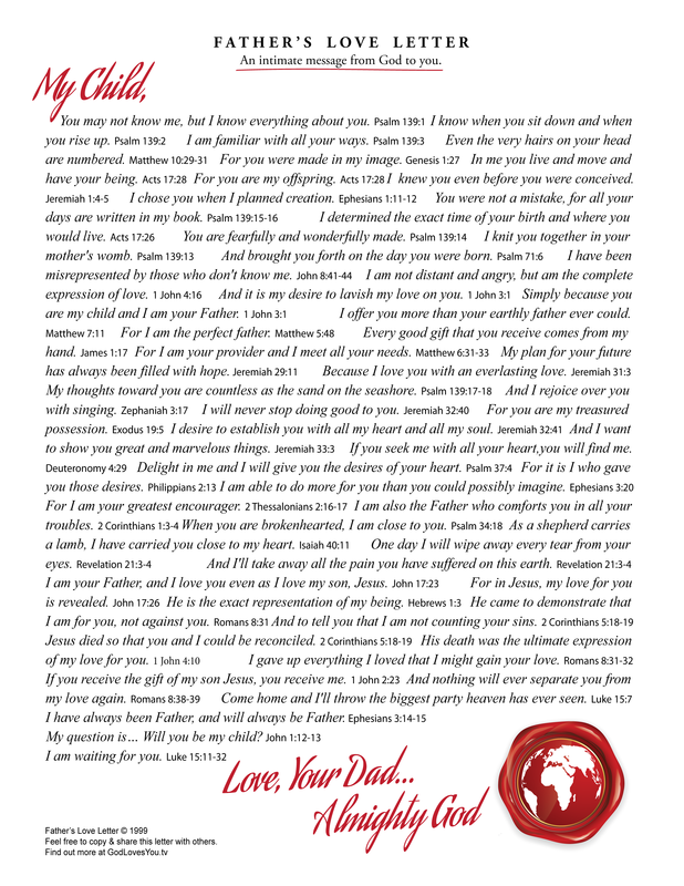 image about The Father's Love Letter Printable referred to as Media Centre -